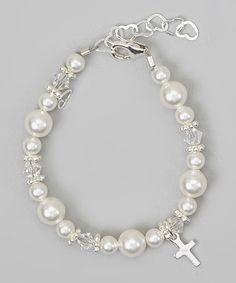 Sterling Silver Crystal Cross Charm Bracelet #zulily #zulilyfinds