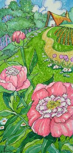 """Peonies Once Again Storybook Cottage Series"" - Original Fine Art for Sale - © Alida Akers"