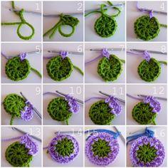 tutorial- crochet ball/garland like granny squares Crochet Circles, Crochet Squares, Crochet Granny, Crochet Motif, Crochet Stitches, Crochet Patterns, Granny Squares, Crochet Ball, Love Crochet