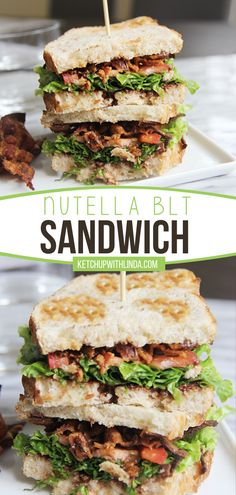 Have problems deciding whether you want something sweet or savory for your next meal? Give this Nutella BLT Sandwich a try! Sweet, savory, crunchy – this fun twist on the regular favorite has everything you crave for. Add this breakfast idea to your summer menu! Sandwiches For Lunch, Sandwich Recipes, Gourmet Burgers, French Dip, Cooking Recipes, Healthy Recipes, Vegetarian Options, Everyday Food, Pinterest Recipes