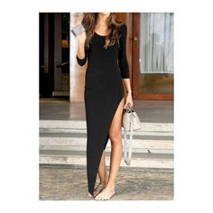 High Slit Black Three Quarter Sleeve Maxi Dress (205 ZAR) ❤ liked on Polyvore featuring dresses, black, three quarter sleeve maxi dress, 3/4 sleeve maxi dress, sleeve maxi dress, high slit dress и black sleeve dress