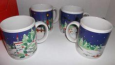 Christmas Scene Coffee Mugs Cups Set Of 4 Ming Pao Snow Holiday Vintage 80's #ChristmasInJuly #mugset #holiday