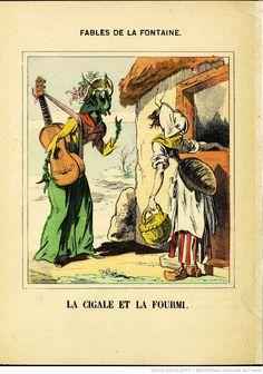Fables de La Fontaine, La Cigale & la Fourmi, image d'Epinal (1875)
