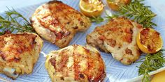 These easy-to-make chicken thighs are full of sweet, zesty flavour, brought out by fresh rosemary and sage that compliment garlic, crushed red pepper and grilled lemons.