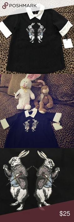 """💣 VICTORIA BECKHAM FOR TARGET Rabbit Shirt NWT Victoria Beckham for Target shirt. Despite the heading for the auction this design actually features the Mad March Hare from """"Alice in Wonderland""""! Black shirt with white collar and cuffs. Collar buttons at back of the neck. Sold out in stores. Size small, New With Tags! Victoria Beckham for Target Shirts & Tops Button Down Shirts"""