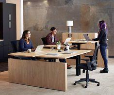 Jensen Double Sit Stand Desk with Reversible Panel - Scandinavian Designs Office Plan, Home Office, Office Ideas, Office Meeting, Meeting Rooms, Office Decor, Sit Stand Desk, Interior Design Studio, Office Interiors