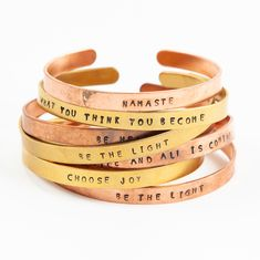 Both Copper and Brass are metals known for their healing properties in the ancient science of Ayurveda.  Live light mantra bracelets are individually hand-stamped with love and intention in South Africa and are perfectly imperfect in nature – each one unique. Copper Cuff, Copper And Brass, Copper Bracelet, Cuff Bracelets, Yoga Mantras, Choose Joy, Perfectly Imperfect, Ayurveda, Metals