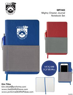 """Mighty Chester Journal Notebook Set for #GEARUP   Soft Touch Pu Leather Coated Cover With Grey Elastic Wrap Front And Back, Pocket And Pen Holder On Spine. Perfect Bound Notebook With 100 Lined Sheets And Matching Ribbon Bookmark. Paired With The Aruba Ballpoint Pen (Pb2222). Size: 8-1/4"""" H × 5-1/8"""" W Primary Imprint: Screen Print/2-3/4"""" W × 2-3/4"""" H"""