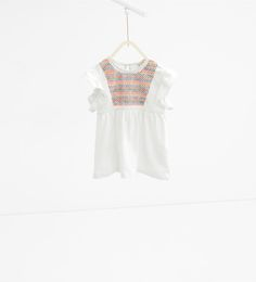 Geborduurde wijde blouse van Zara