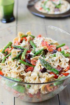 frühlingsgerichte nudelsalat mit spargel