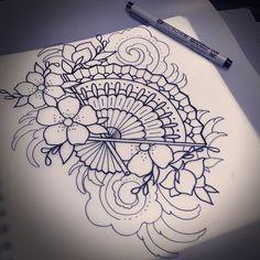 This is for Morgan. #aceshightattoo #aceshightattoos #aceshightattooshop #fan #fantattoo #cherryblossom #cherryblossomtattoo #waves #wavestattoo Future Tattoos, New Tattoos, Body Art Tattoos, Tattoo Drawings, Sleeve Tattoos, Irezumi, Fan Tattoo, Neo Traditional Tattoo, Skin Art