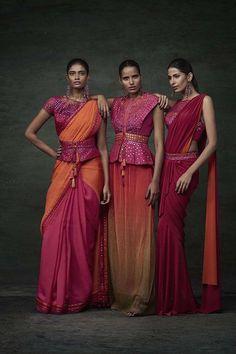 Tarun Tahiliani Spring/Summer 2016 RTW Models - Archana Akhil Kumar, Preeti Dhata and Aasttha Ssidana Saris, India Fashion, Ethnic Fashion, Asian Fashion, Fashion Goth, Lehenga, Anarkali, Sabyasachi, Tarun Tahiliani