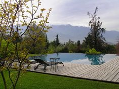 Gorgeous pool with a view of the Andes, Santiago garden, Chile {Juan Grimm}