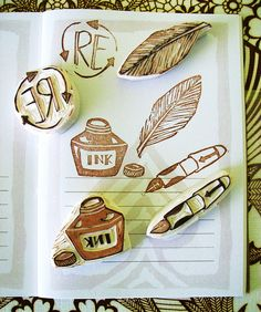 Hand Carved Stamps Writing Set | Flickr - Photo Sharing!