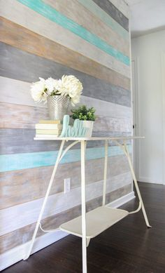 House How to Make a Stunning DIY Plank Wall - Lovely Etc. How to Budget for Home Improvements Home i Rustic Walls, Rustic Decor, Diy Wall Decor, Diy Home Decor, Beach Wall Decor, Wall Decorations, Blanc Shabby Chic, Bedroom Wall, Bedroom Decor