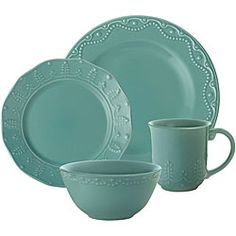 Paula Deen Whitaker Aqua 16-piece Dinnerware Set | Overstock.com Shopping - The Best Deals on Casual Dinnerware
