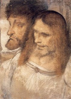 Leonardo da Vinci, 1452-1519, Italian, Heads of Sts Thomas and James the Greater, 2nd half of 15th century.  Black, brown and red chalk, retouched in charcoal, 62.3 x 453 cm.  Ackland Art Museum, North Carolina.