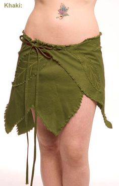 Khaki LEAF WRAP SKIRT Trance Fee Elf Festival Psy Pixie (groß)