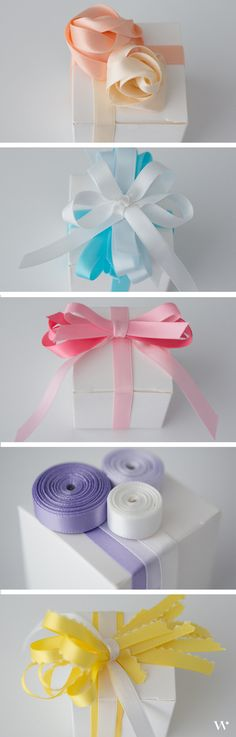 Learn how to create bespoke favors and stay on budget with these 5 simple ribbon tutorials! #DIY http://blog.weddingstar.com/diy-wedding-wednesday-white-box-satin-ribbon-endless-possibilities/