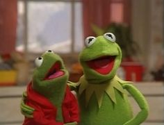 Robin and his Uncle Kermit singing Jingle Bells.