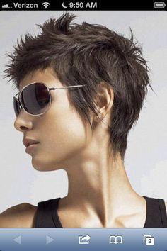 New haircut, short, funky pixie cut!