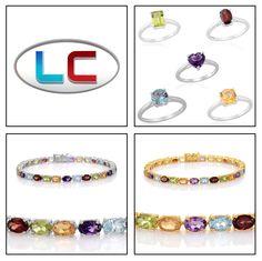 Liquidation Channel: Multi-Gemstone Set of 5 Rings in Sterling Silver (Nickel Free) or Bracelet in Platinum or 14K Yellow Gold Overlay Sterling Silver (Nickel Free)
