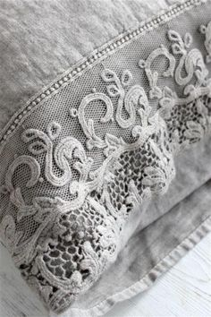 I am planning to add wide lace trim to the edges of my guest room's standard white pillowcases! Beauty!
