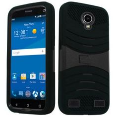 ZTE ZMAX 2 Z958 Z955L Hard Cover and Silicone Protective Case - Hybrid Black w/ Stand 1