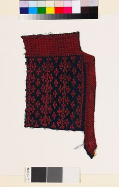 Textile fragment from the neck of a garment with linked diamond-shapes and lattice - Egypt -  Fustat -  10th - 15th c CE -  cotton, dyed blue, and embroidered with red silk; neck opening with lining; with stitching in flax - 33.5 x 19 cm max. (length x width) - ground fabric, along length/width 15 / 17 threads/cm (thread count) - lining, along length/width 12 / 14 threads/cm (thread count) -  ground fabric 0.04 cm (thread diam) -  addl fibre, embroidery 0.06 cm (thread diam)