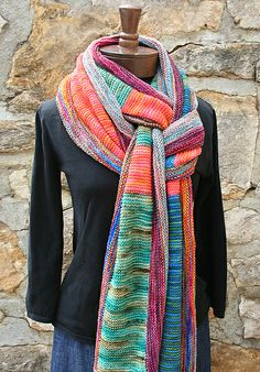 Sock Yarn scraps, garter stitch, multi directional. Imagine the fun that you could have.