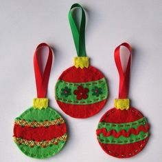 felt christmas ornaments | 3x Hanging Felt Christmas Decorations