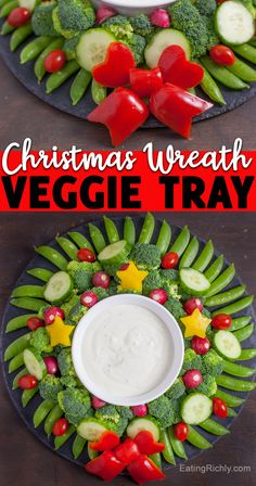 Create a showstopping holiday appetizer with vegetables. It's so easy to make a Christmas wreath veggie tray! Serve with your favorite dip. We like vegan ranch. #veggies #vegetables #veggietray #christmasfood #christmasmenu #christmaspotluck #christmasappetizer #holidayappetizer #appetizers #appetizerrecipes #cutefood #foodart Christmas Potluck, Christmas Appetizers, Cute Food, Good Food, Yummy Food, Easy Delicious Recipes, Vegan Recipes, Appetizer Recipes, Dinner Recipes
