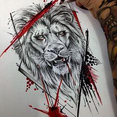 Image result for trash polka lion tattoos.