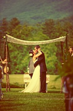 I'd love a wedding out in a woods, I suppose a little bit fairy style, and with my hippy roots coming out but this is a very pretty outside wedding idea