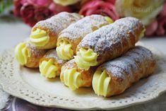 Trubičky s vanilkovým krémom s mascarpone | Pečené-varené.sk No Bake Cake, Sausage, Food And Drink, Cheese, Recipes, Pastries, Tutorials, Decorating, Basket