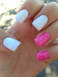 Pink and white nails!
