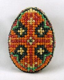 This is a particularly fragile beaded egg, as it is made with a real egg, not a wooden one