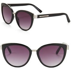 Vince Camuto 57MM Cat Eye Sunglasses ($85) ❤ liked on Polyvore featuring accessories, eyewear, sunglasses, black, cat eye sunglasses, vince camuto eyewear, cat eye sunnies, retro style sunglasses and lens glasses