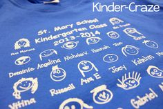 See this kindergarten class's adorable class t-shirt from ClassroomFaces.com that this teacher tied in with her lessons on color words!