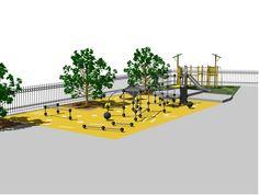 Inspiratie! Freerunning op een schoolplein in Handel. Ontwerp uitgewerkt in Vectorworks.