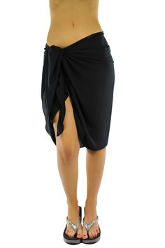 fb4952766c9af Sheer Knee Length Cover Up Sarong Wrap for Women
