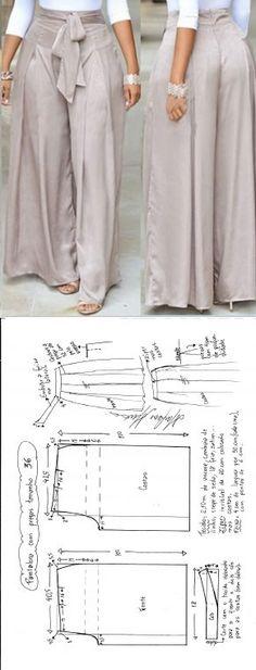 Patrón para crear un pantalón muy especial. #patrones #diy #patrones
