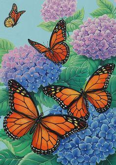 Custom Decor Flag - Monarchs & Hydrangeas Decorative Flag at Garden House Flags at GardenHouseFlags
