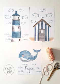Lighthouse beach house and whale illustration for Little Kepa Lighthouse beach house and whale illustration for Little Kepa Seiko infantil Lighthouse beach house and whale illustration for Little nbsp hellip Whale Illustration, House Illustration, Watercolor Illustration, Nautical Prints, Nautical Theme Decor, Watercolor Cards, Watercolor Paintings, Baby Poster, Whale Drawing