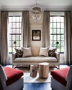 Patterned drapes. Greenwich - transitional - Living Room - New York - Thom Filicia Inc.