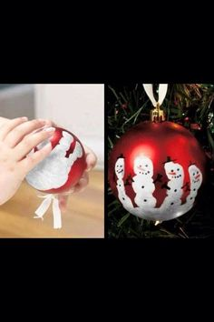 Cute and simple Christmas decorations. A cute craft to do with the kids. Noel Christmas, Christmas Crafts For Kids, Christmas Activities, Babies First Christmas, Simple Christmas, Christmas Projects, Winter Christmas, Holiday Crafts, Holiday Fun