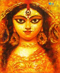 In this beautiful painting Artist Tapas Sardar using orange & gold color to show the power of Goddess Durga Maa. #painting #blessings #prayer #goddess
