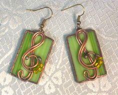 Lime Earrings, Stained Glass Earrings, Lime green,Contemporary earrings,Green rectangular glass earrings,Pendant earrings,Music Note,ukrteam by MyVitraz on Etsy https://www.etsy.com/listing/219700979/lime-earrings-stained-glass-earrings
