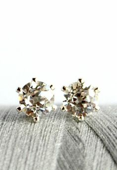 Sparkly Old European cut cubic zirconia studs. From Kahili Creations of Hawaii...
