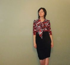 Victory Hazel pattern. Long sleeved, patterned fabric up top.